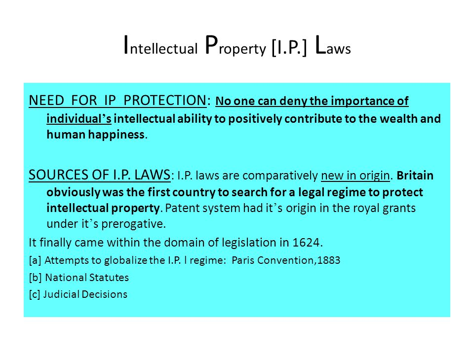 Intellectual Property [I.P.] Laws